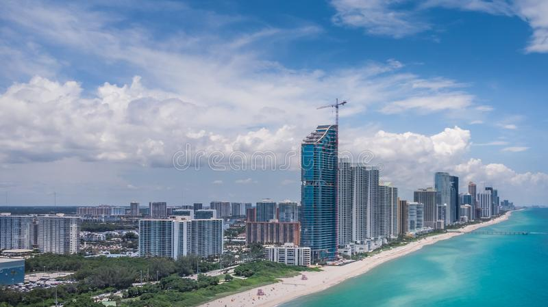 Aerial view, drone photography of Sunny Isles Beach City located in northeast Miami-Dade County, Florida in beautiful sunny day stock photo