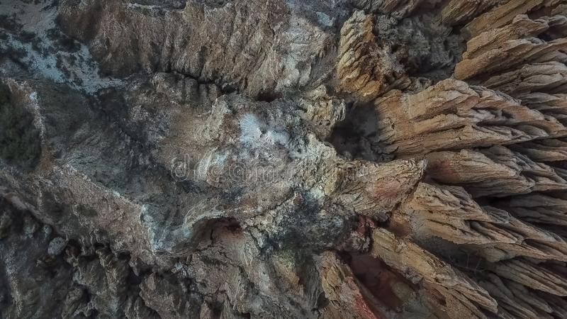 Aerial view of a drone, with rare geological phenomenon, cliffs of clayey clay with erosion, strange forms, locally called royalty free stock photos