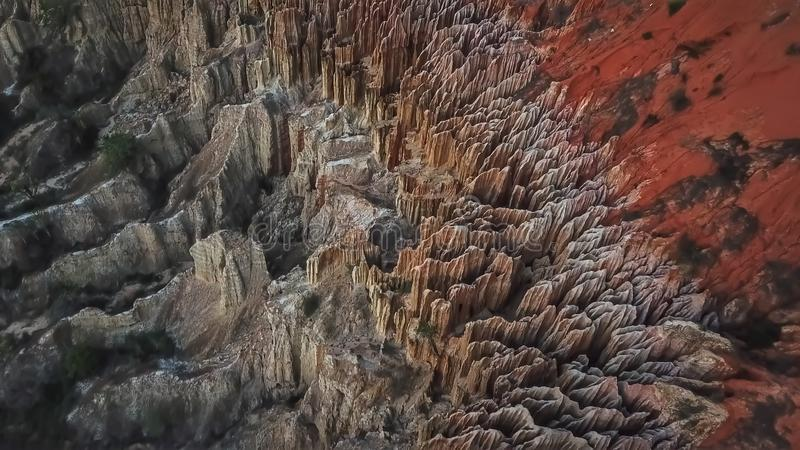 Aerial view of a drone, with rare geological phenomenon, cliffs of clayey clay with erosion, strange forms, locally called royalty free stock images