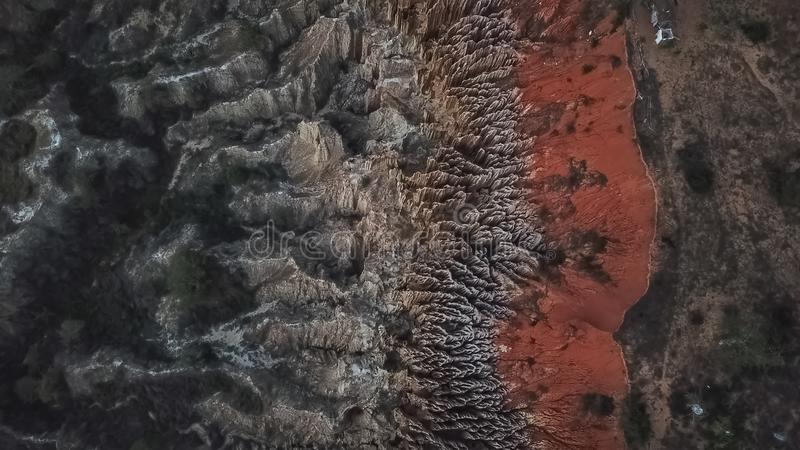 Aerial view of a drone, with rare geological phenomenon, cliffs of clayey clay with erosion, strange forms, locally called stock images