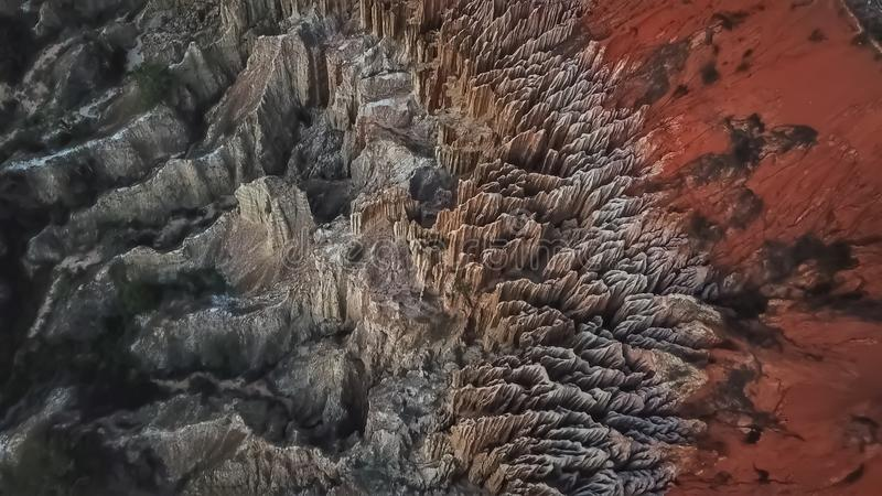 Aerial view of a drone, with rare geological phenomenon, cliffs of clayey clay with erosion, strange forms, locally called royalty free stock photography