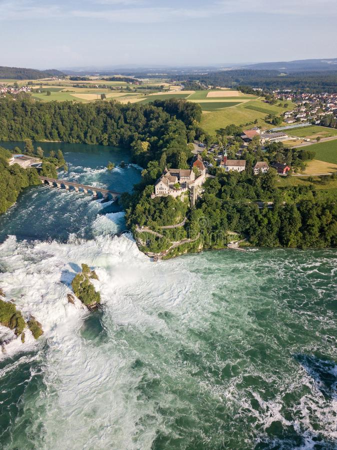 Aerial view by drone of Rhine Falls, the largest in Europe royalty free stock photos