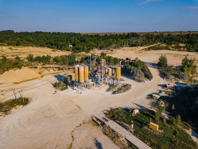 Aerial view from drone to sand pit, sunny day. Russia stock images