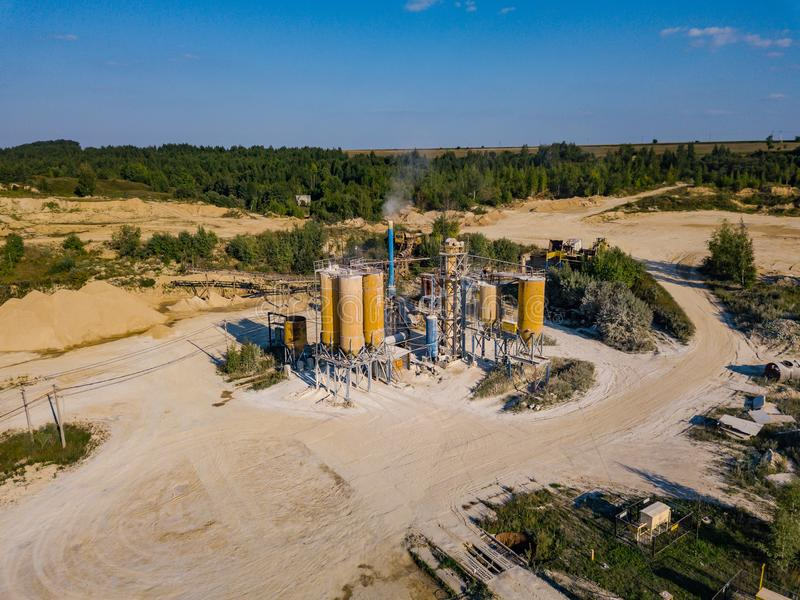 Aerial view from drone to sand pit, sunny day. Russia stock photography
