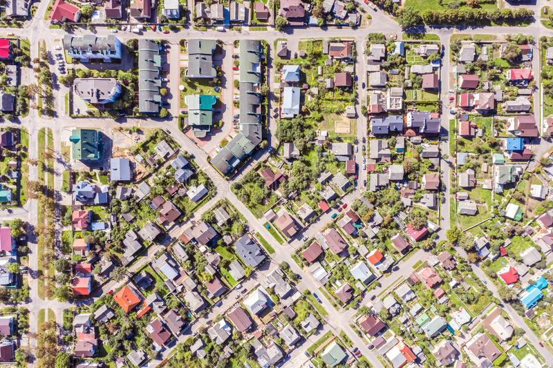 Aerial view of urban houses and streets in a residential area royalty free stock photo