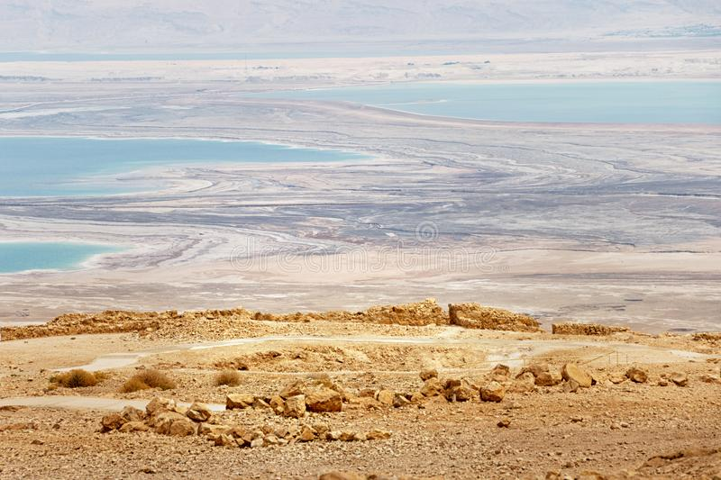 Aerial view on the drying Dead Sea, Israel, fron the Masada plat royalty free stock images