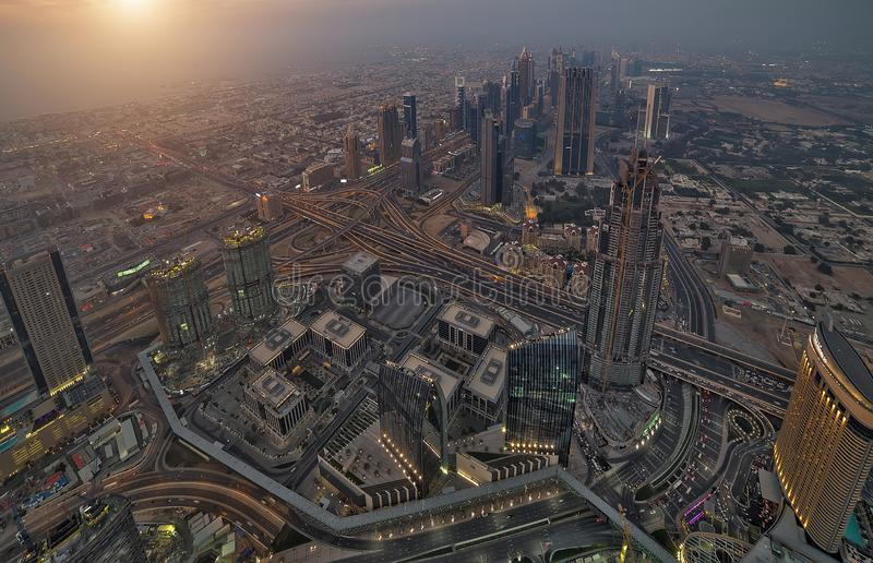 Aerial view Dubai city United Arab Emirates (UAE. Aerial view of downtown hotel, famous skyline of Dubai's business skyscrapers luxury resort in Dubai city at royalty free stock images