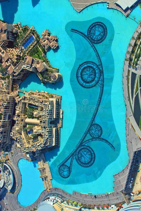 Aerial view of dubai fountains from burj khalifa dubai united arab download aerial view of dubai fountains from burj khalifa dubai united arab emirares stock gumiabroncs Image collections
