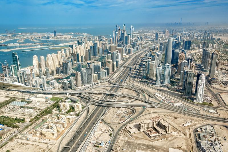 Aerial view of Dubai Marina skyline with Sheikh Zayeg road highway interchange, UAE royalty free stock photography