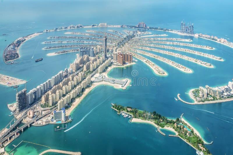 Aerial view of Dubai Palm Jumeirah island, UAE stock photography
