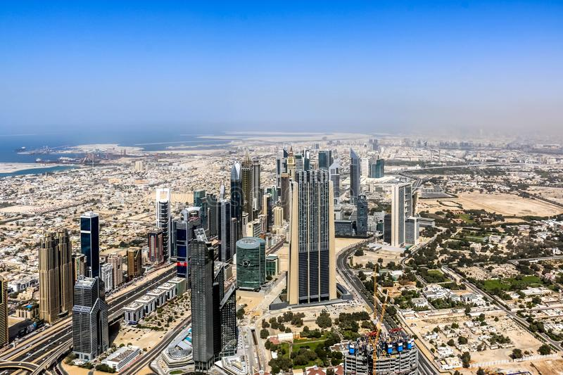 Aerial view of Dubai Skyline, Amazing Rooftop view of Sheikh Zayed Road Residential and Business Skyscrapers in Downtown Dubai, Un royalty free stock photography