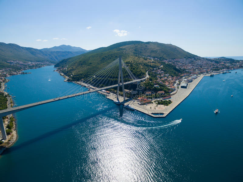 Aerial view of Dubrovnik bridge - entrance to the city. stock images