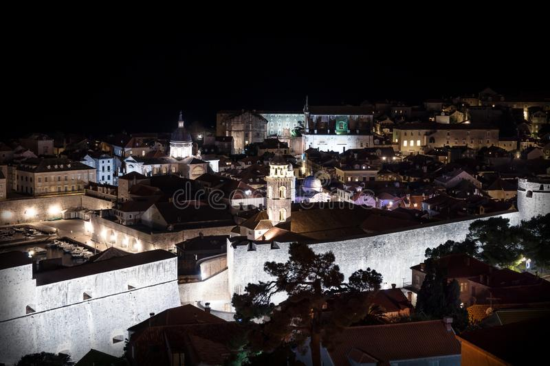 Aerial view of Dubrovnik old city at night, Croatia stock image
