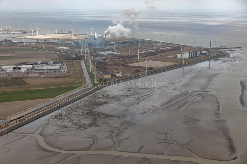 Aerial view Dutch Eemshaven with coal powered electricity plant stock image