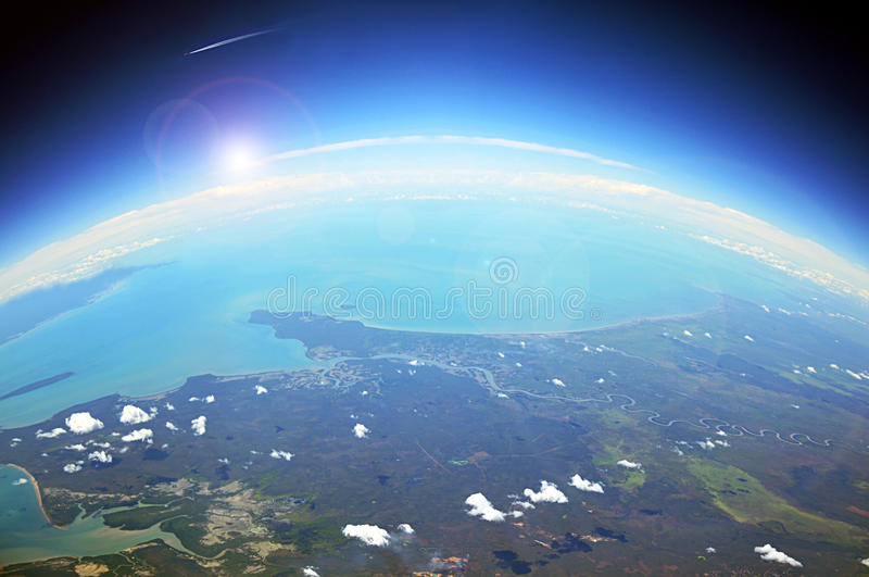 Aerial view of the earth stock image