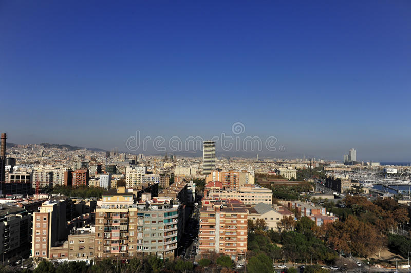 Download Aerial View Of East Barcelona, Spain Coast Line Stock Photo - Image: 12630590