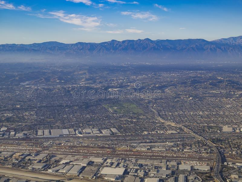 Aerial view of East Los Angeles, Bandini, view from window seat. Aerial view of Monterey Park, Rosemead, view from window seat in an airplane, California, U.S.A stock photos