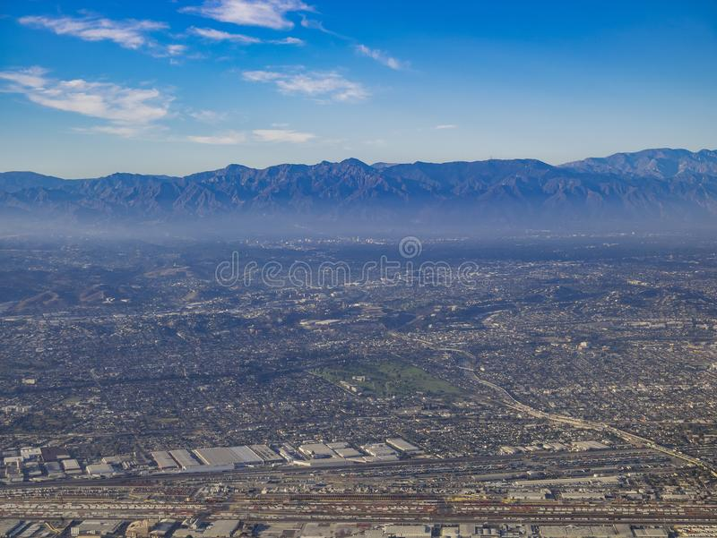Aerial view of East Los Angeles, Bandini, view from window seat. Aerial view of Monterey Park, Rosemead, view from window seat in an airplane, California, U.S.A royalty free stock photo