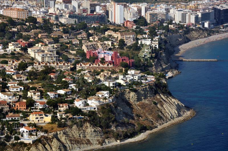Aerial view of Edificios de Ricardo Bofill. Aerial view of Calpe and famous architectural monument - Edificios de Ricardo Bofill royalty free stock photos