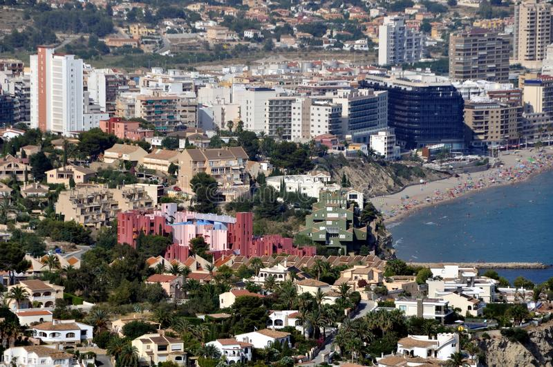 Aerial view of Edificios de Ricardo Bofill. Aerial view of Calpe and famous architectural monument - Edificios de Ricardo Bofill. Skycrapers at the seaside stock photo