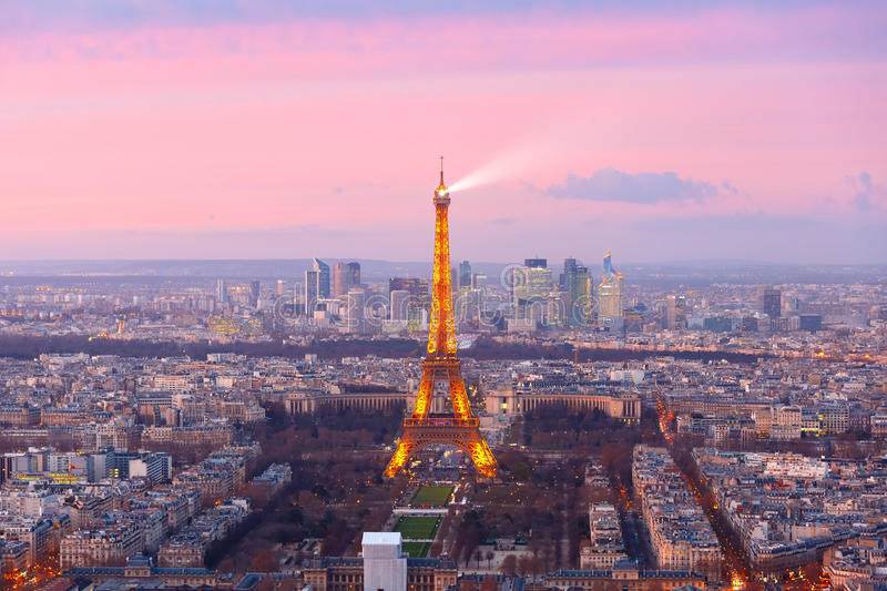 Aerial view of Eiffel Tower in Paris, France stock photos