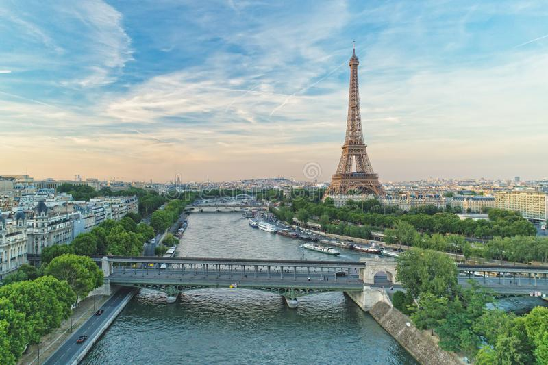 Aerial view of Eiffel Tower and Pont de Bir-Hakeim stock images