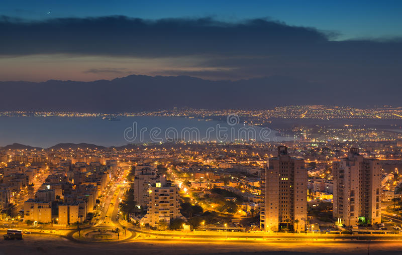 Aerial view on Eilat (Israel) and Aqaba (Jordan) royalty free stock photo