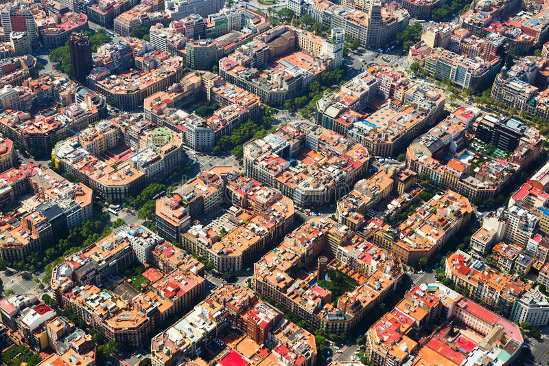 Aerial view of Eixample district. Barcelona, Spain royalty free stock photography