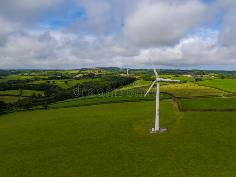 Aerial view of a electricity generating wind turbine stock photo