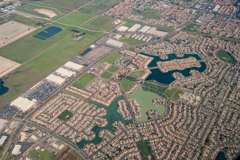 Aerial view of the Elk Grove area. Sacramento County, California royalty free stock photo