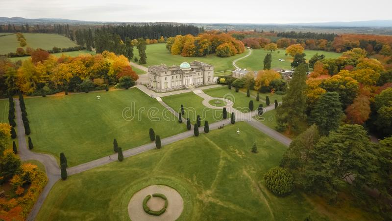 Aerial view. Emo Court House. Portlaoise. Ireland. Aerial view. Neo-classical mansion Emo Court and gardens. Portlaoise. Ireland stock photography