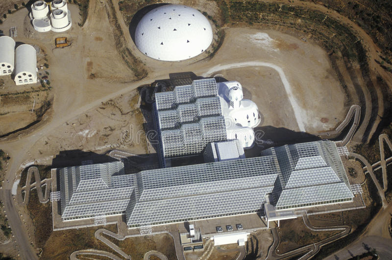 Aerial view of the enclosed ecosystem of Biosphere 2 at Oracle in Tucson, AZ stock photography