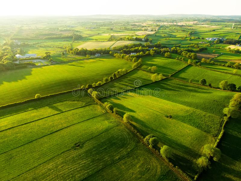 Aerial view of endless lush pastures and farmlands of Ireland. Beautiful Irish countryside with emerald green fields and meadows. royalty free stock photography