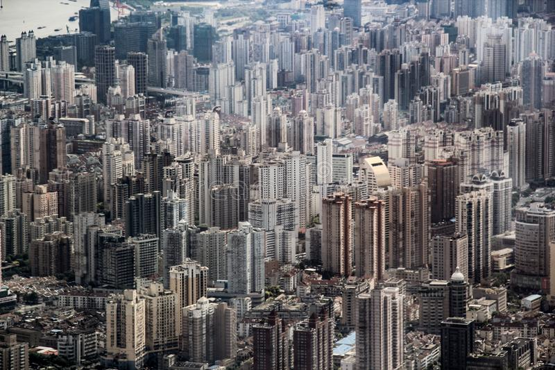 Aerial view of the endless skyscrapers in Shanghai, China royalty free stock photography
