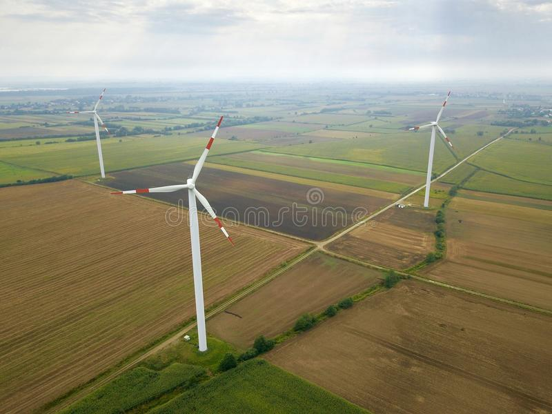 Aerial view of energy producing wind turbines, Poland royalty free stock photos