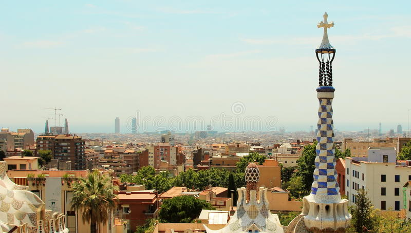 Aerial view of entire Barcelona Spain from Park Guell. The Park Güell is a public park system composed of gardens and architectonic elements located on Carmel royalty free stock image