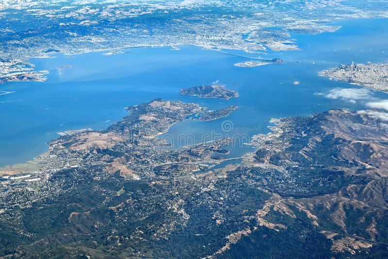 Aerial View of entire San Francisco Bay Area royalty free stock photo