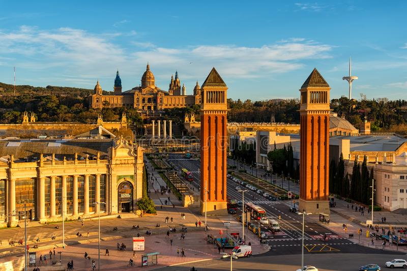 Aerial view of Espanya square with venetian columns in Barcelona, Catalonia, Spain stock photo