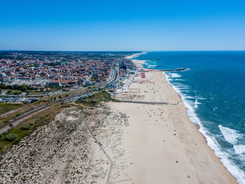 Aerial view of Espinho beach - Porto - Portugal royalty free stock photos