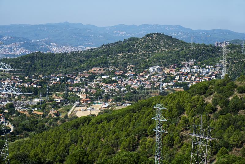 Aerial view of Esplugues de Llobregat, Spain. An aerial view over the Ciutat Diagonal district, in Esplugues de Llobregat, Spain, seen from a hill at Sant Pere royalty free stock photos
