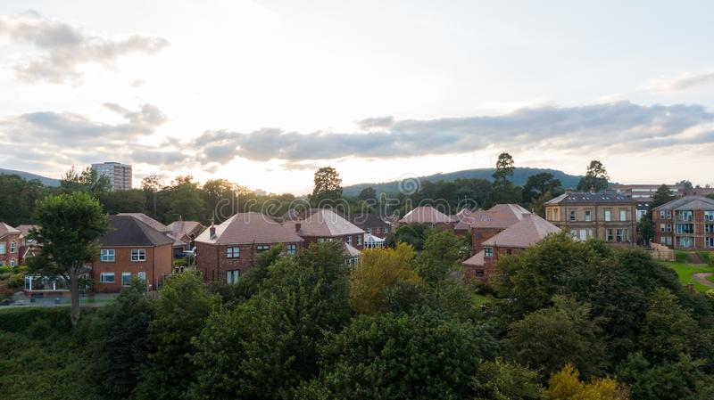 Aerial view on estate and mansions. View of Houses from above against sunset sky and mountains in Belfast Northern Ireland.  stock images