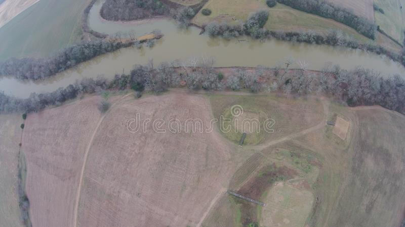 Aerial View of the Etowah river at Etowah Mound Historic site. Etowah Indian Mounds are prehistoric archaeological site located on the bank of Etowah river in stock photo