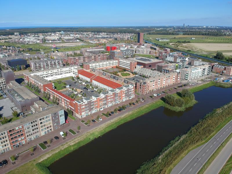 Aerial view of the Europakwartier, Almere Poort, The Netherlands. stock photo