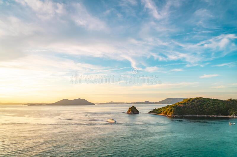 Aerial view of Exotic Paradise island beach and ocean in Takamatsu Japan. The Aerial view of Exotic Paradise island beach and ocean in Takamatsu Japan royalty free stock photos
