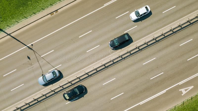Aerial view on the of expressway across city road in the Kiev city royalty free stock photography