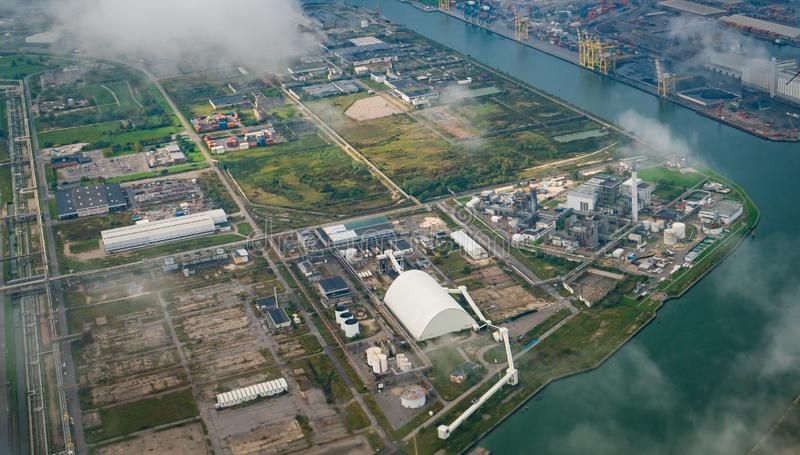 Aerial view of factories in industrial district royalty free stock photo