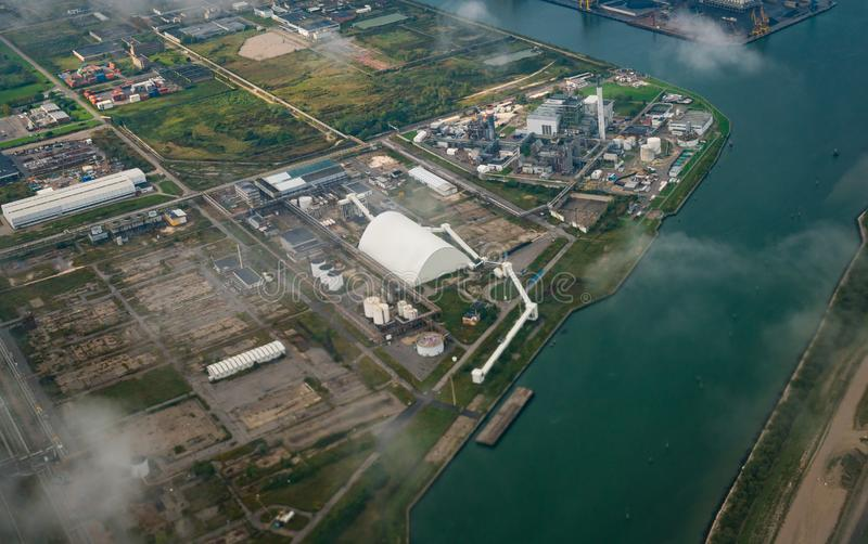 Aerial view of factories in industrial district royalty free stock image