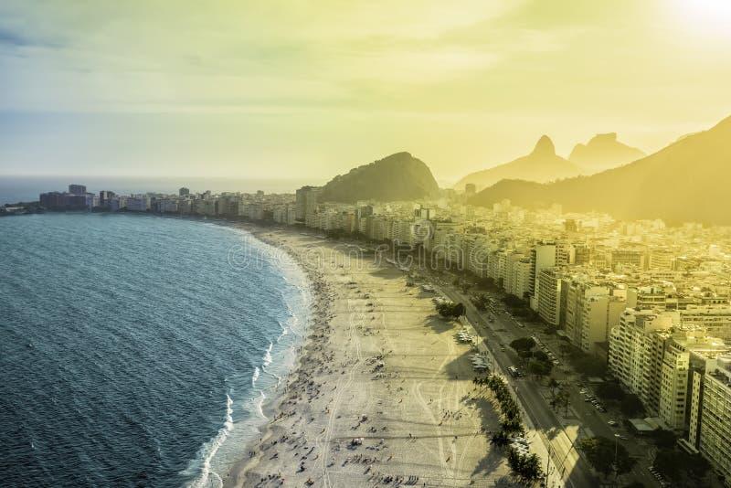 Aerial view of famous Copacabana Beach in Rio de Janeiro. Brazil stock images
