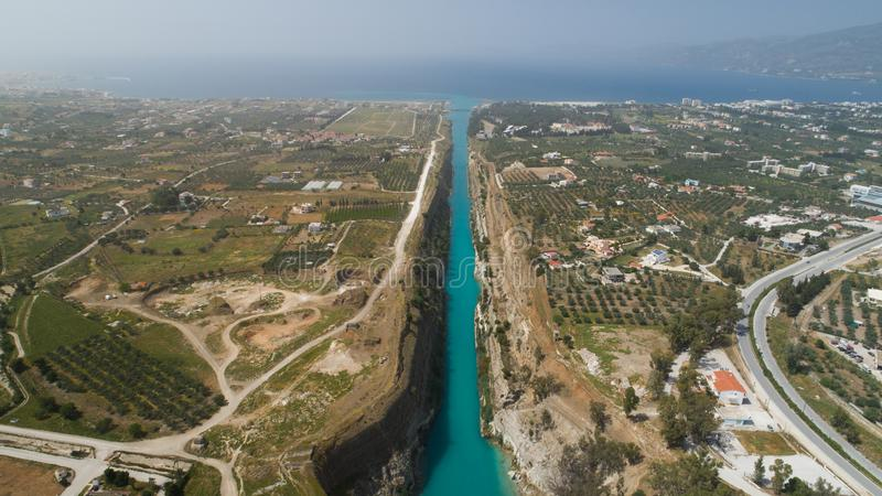 Aerial view of famous Corinth Canal of Isthmus, Peloponnese. stock photos