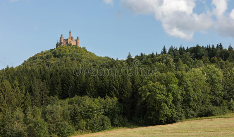 Aerial view of famous Hohenzollern Castle, ancestral seat of the. Imperial House of Hohenzollern and one of Europe`s most visited castles, Baden-Wurttemberg royalty free stock images